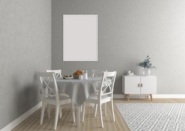 白い垂直フレームと北欧のキッチン