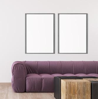 Scandinavian living room design, frame mockup in bright interior design