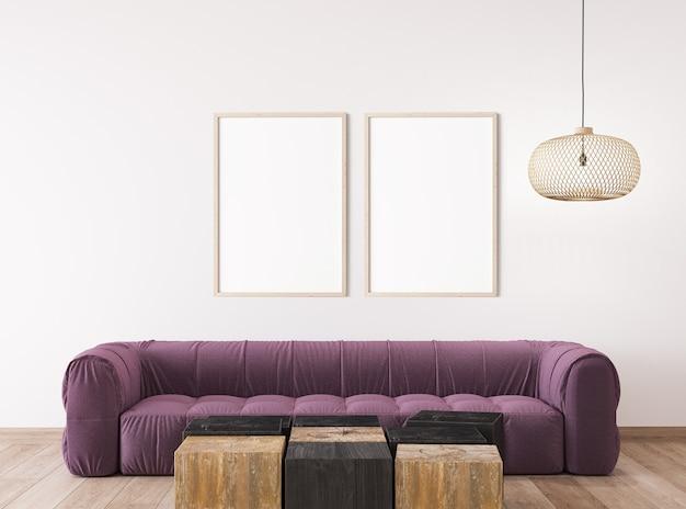 スカンジナビアのリビングルームのデザイン、明るいインテリアデザインのフレームモックアップ