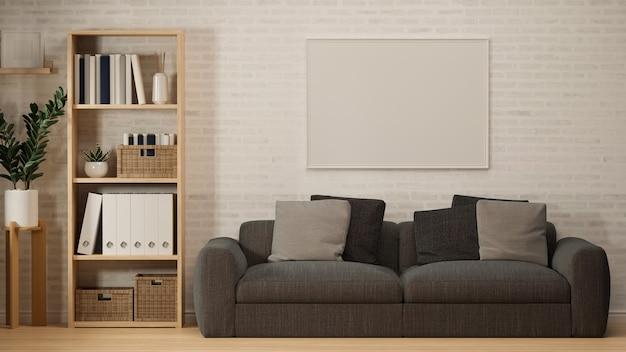 벽 내부에 회색 소파 나무 선반 모형 포스터 프레임이 있는 스칸디나비아 거실 인테리어