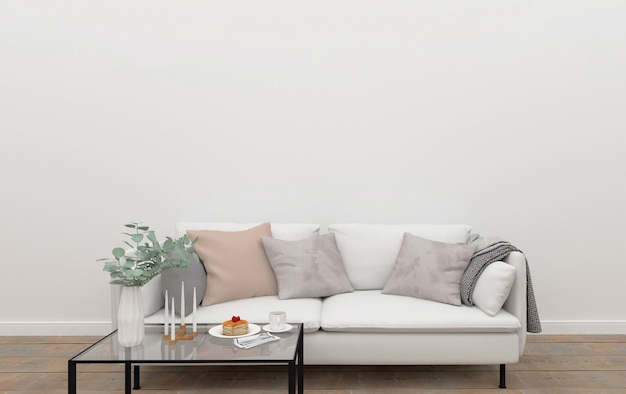 Scandinavian living room - wall gallery mockup