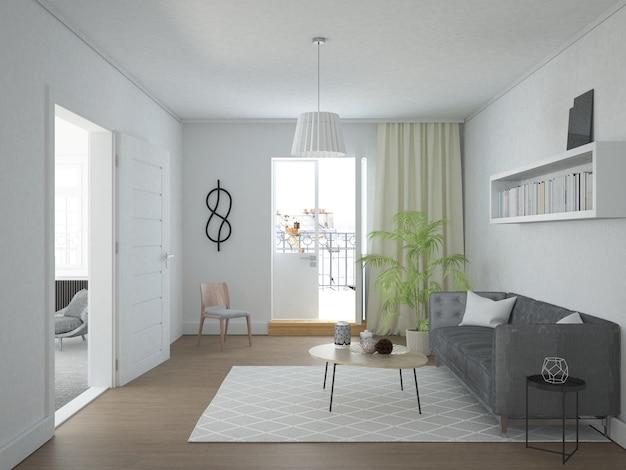 Скандинавская гостиная с балконом