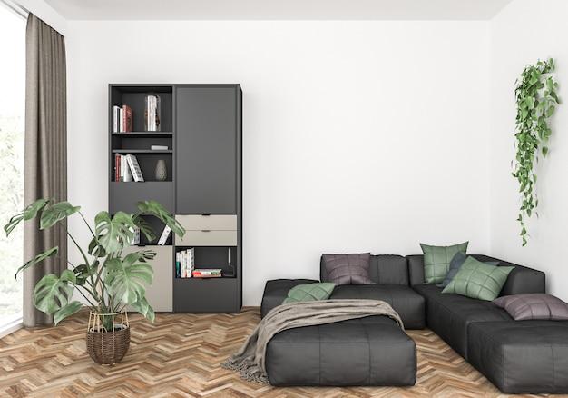 Scandinavian living room with a black sofa, blank wall mockup, wall art display