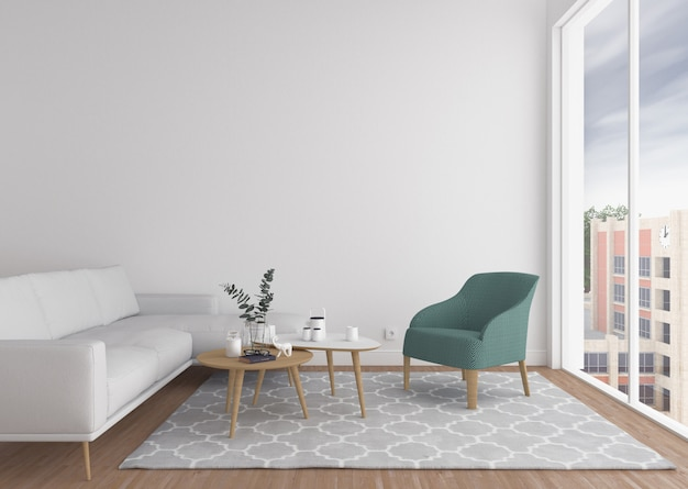Scandinavian living room with blank wall.