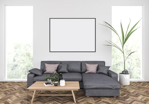 Scandinavian living room with a grey sofa, horizontal frame mockup, artwork background