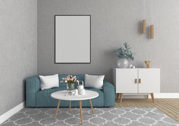 Scandinavian living room with vertical frame, artwork background, interior mockup