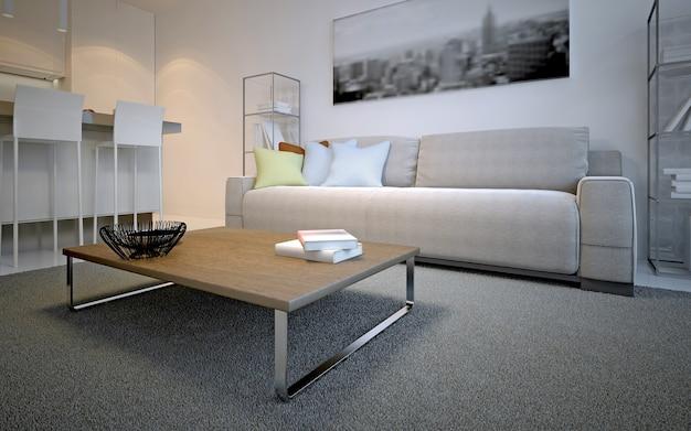 스칸디나비아 라운지 룸 디자인. 컬러 베개와 함께 우주 라떼 소파 앞에 두꺼운 더미 카펫에 간단한 테이블. 3d 렌더링