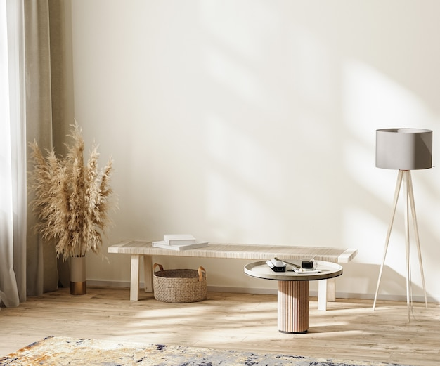 가구, 빈 벽 모형, 3d 일러스트레이션을 갖춘 중성 색상의 스칸디나비아 미니멀리즘 객실 내부