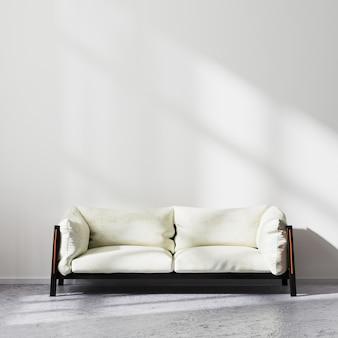 스칸디나비아 미니멀리즘 스타일의 거실 인테리어, 태양 광선이 있는 흰색 벽이 있는 원시 콘크리트 바닥에 흰색 소파, 현대적인 거실 배경, 3d 렌더링