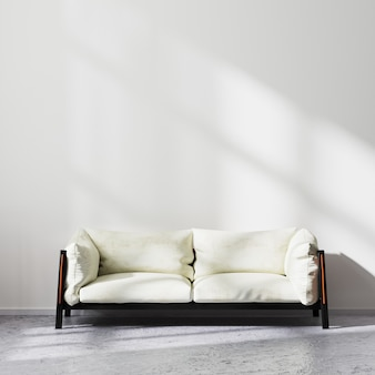Scandinavian minimalistic style living room interior mock up, white sofa on raw concrete floor with white wall with sun rays, contemporary living room background, 3d rendering