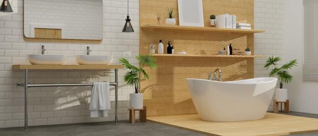 Scandinavian and modern bathroom interior with bathtub on wooden floor  3d rendering