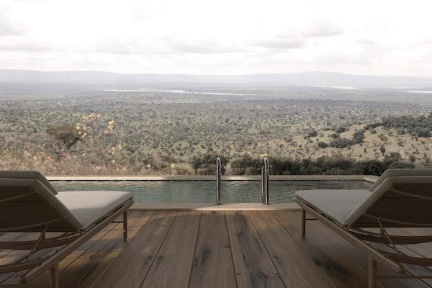 Scandinavian modern design wooden outdoor terrace with chaise lounge 3d render illustration