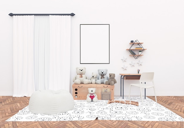 Scandinavian nursery room with vertical frame