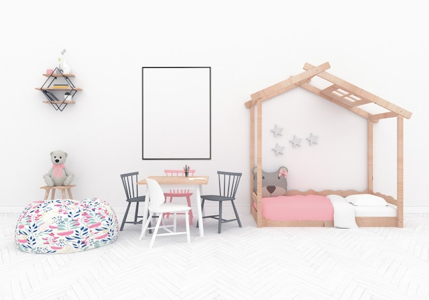 Scandinavian playroom with vertical frame