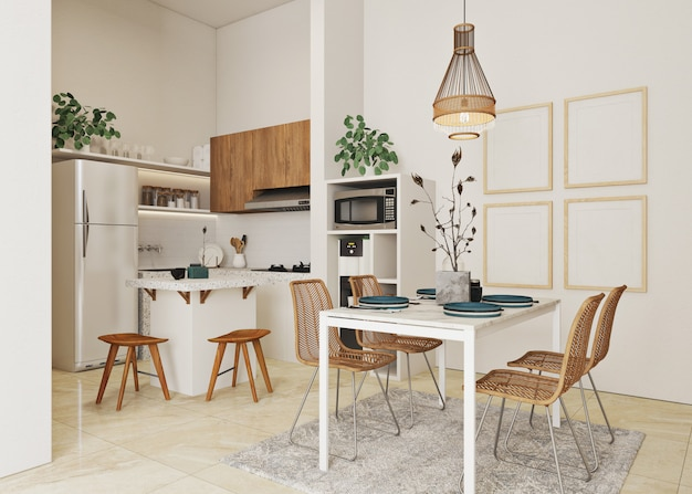 Scandinavian style of kitchen and dinning room