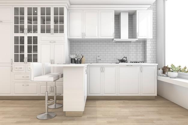Scandinavian style kitchen with bar