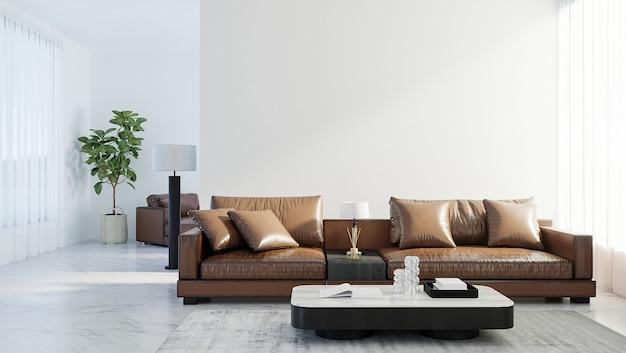 스칸디나비아 스타일의 거실 내부 조롱, 현대적인 거실 내부 배경, 갈색 가죽 소파, 3d 렌더링