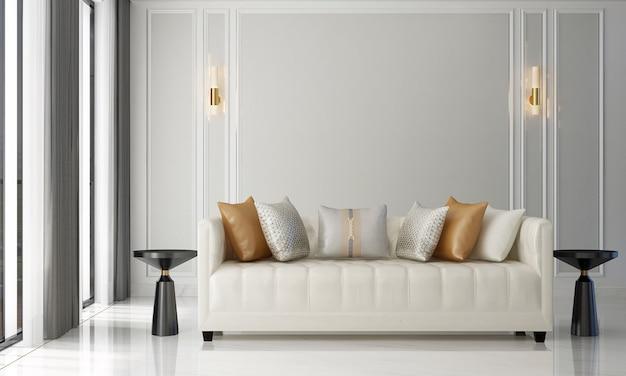 스칸디나비아 스타일의 거실에는 소파와 티 테이블이 있습니다. 미니멀리스트 거실 디자인 및 빈 흰색 벽 배경