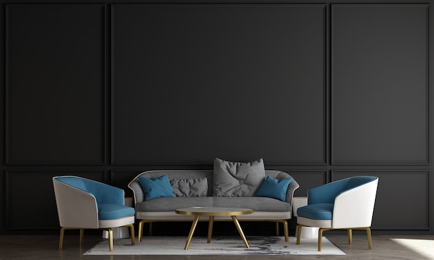 Scandinavian style living room with sofa and tea table. minimalist living room design, and empty black wall background, 3d illustration