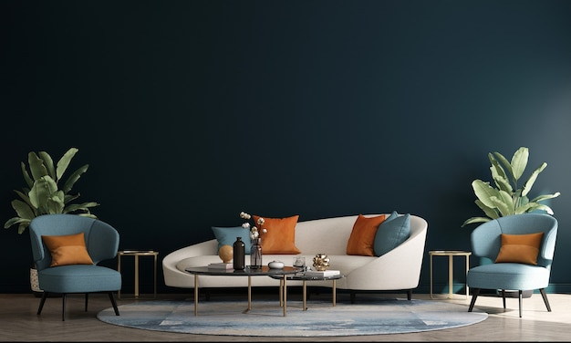 Scandinavian style living room with sofa and tea table. minimalist living room design, and empty bluewall background, 3d illustration