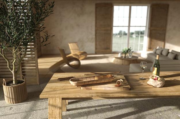 Интерьер гостиной в скандинавском стиле и обеденный стол с едой, 3d визуализация