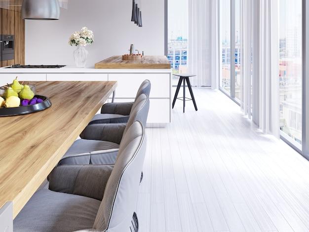 Столовая в скандинавском стиле и кухня открытой планировки с видом на город. 3d рендеринг