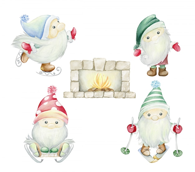 Scandinavian trolls, gnomes. fireplace, hearth, with a burning fire, wood. watercolor illustration set