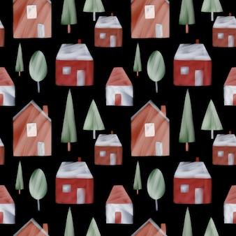 黒の背景のシームレスなパターンのスカンジナビアの村かわいい家や木々の繰り返し印刷