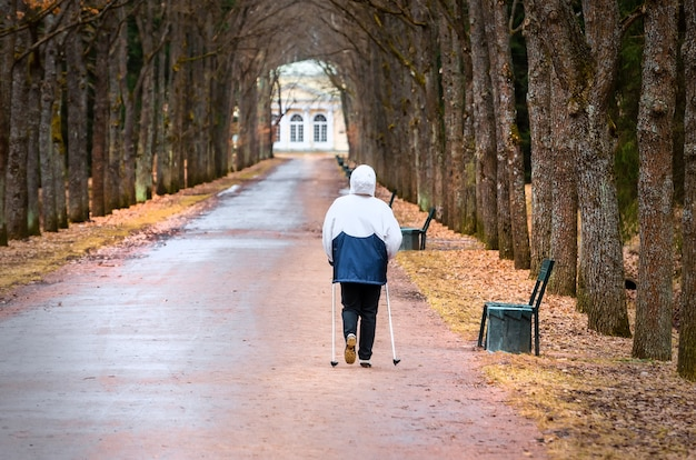 Scandinavian walking man on alley in park and trees.