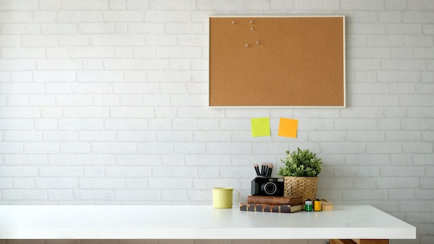 Scandinavian workspace and copy space.