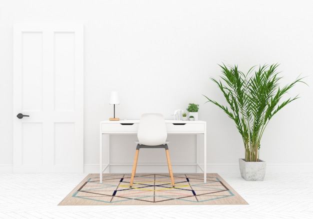Scandinavian workspace with blank wall mockup