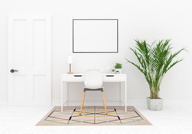 Scandinavian workspace with horizontal frame