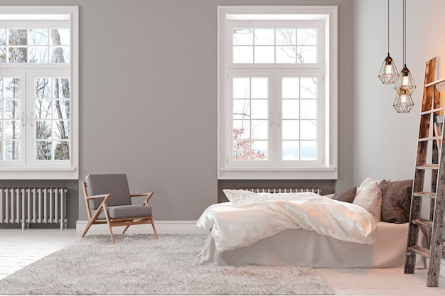 Scandinavin loft gray empty bedroom interior with armchair, bed and lamp. 3d render illustration .