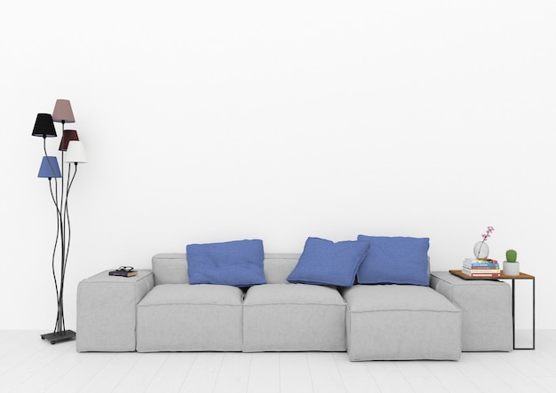 Scandinvian lounge room with blank wall