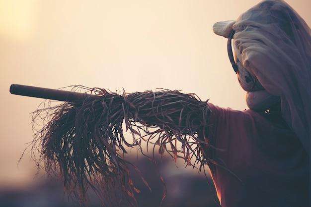 벼 논에서 허수아비