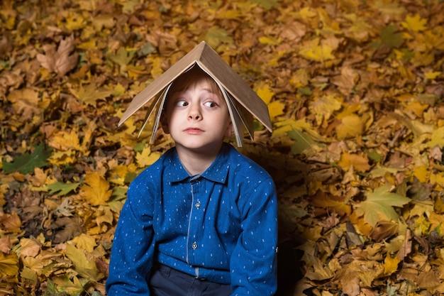 Испуганный мальчик сидит на опавших листьях в парке и держит книгу над головой.