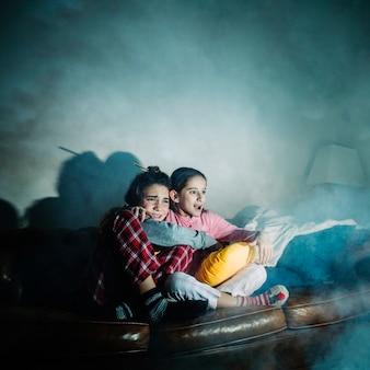 Scared girls watching horror movie