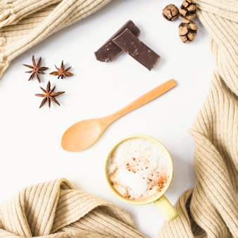 Scarf around coffee and spices