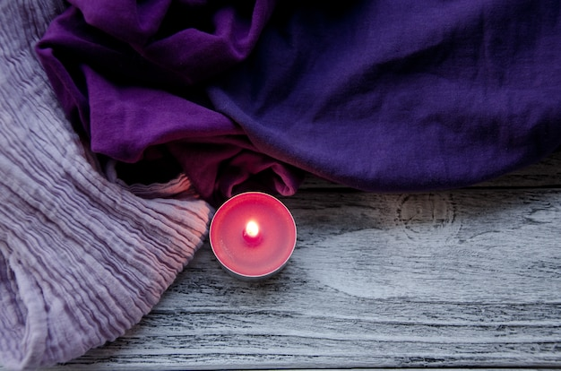 Scarves and a candle