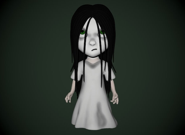 Страшный мультяшный персонаж ужас девушка с черными волосами 3d-рендеринга.
