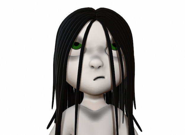 Scary cartoon character horror girl with black hair 3d-rendering.