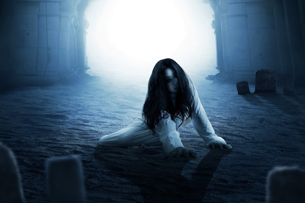 Scary ghost woman crawling . halloween concept