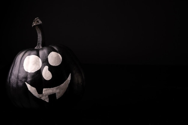 Scary halloween pumpkin isolated on black. scary faces trick or treat