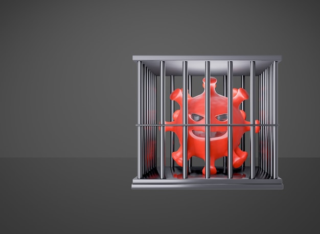 A scary-looking red virus model is locked in a black prison cell. clipping path image. 3d illustration rendering.