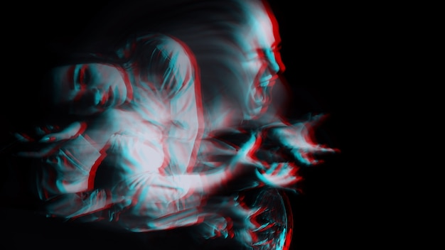 Scary portrait of a ghost girl in a white shirt with a blur on a dark background. black and white with 3d glitch virtual reality effect