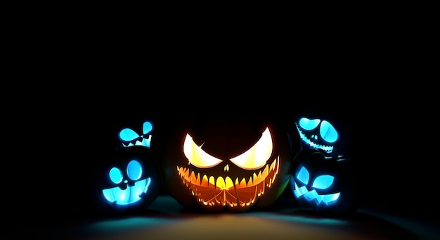 Scary pumpkin faces glowing in the dark