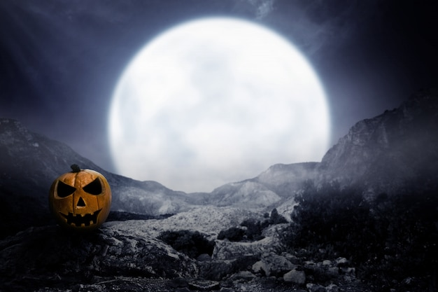 Scary pumpkin with moonlight