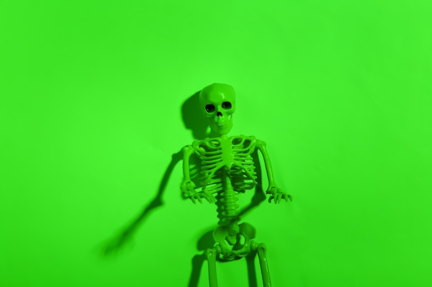 緑のネオンライトで怖いスケルトン