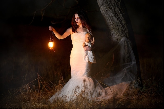 Scary woman with a lantern in night scene