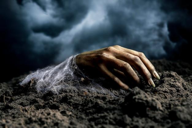 Страшная рука зомби с земли ночью